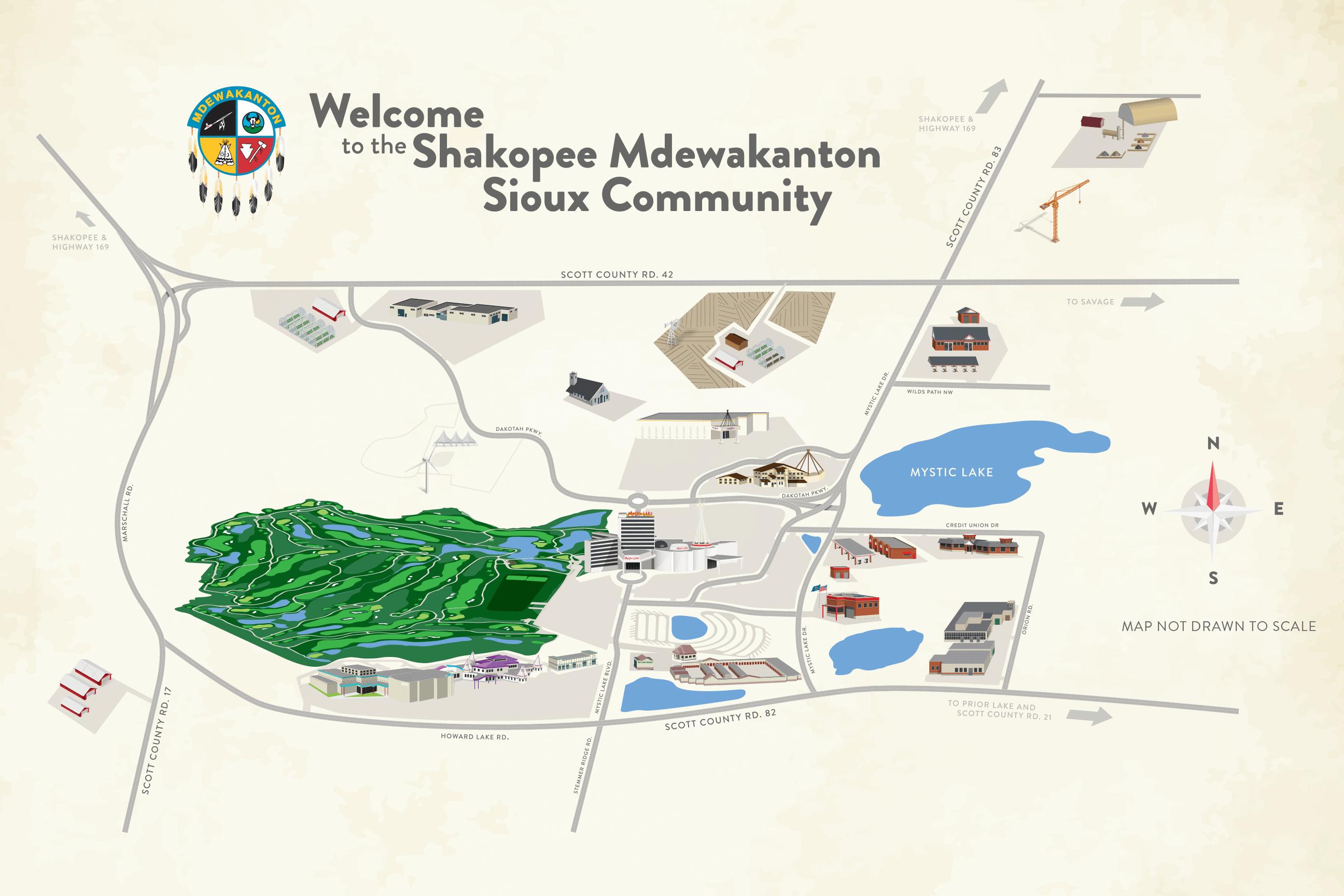 Shakopee Mdewakanton Sioux Community Map, Prior Lake MN